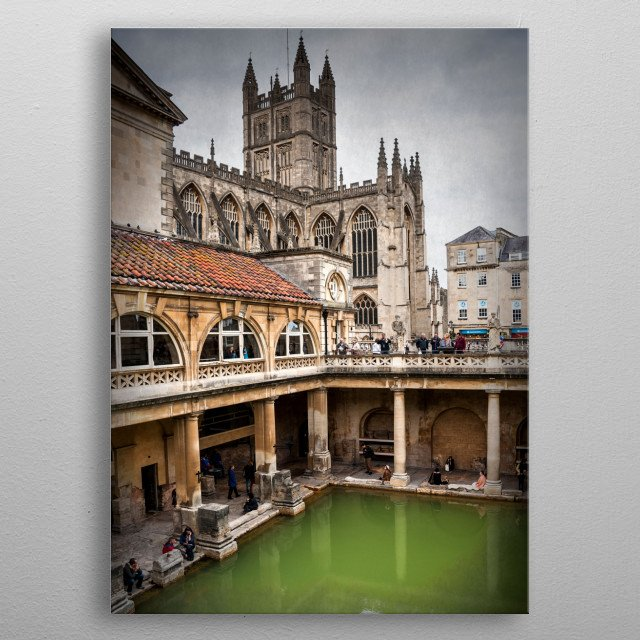 The Roman Baths complex is a site of historical interest in the English city of Bath. metal poster