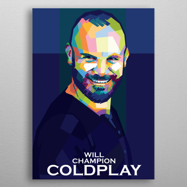 Colorful WPAP illustration of Coldplay Personel,Will Champion metal poster