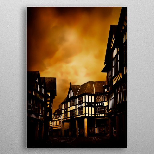 Chesterfield is a large market town and borough in Derbyshire, England metal poster