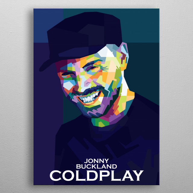 Colorful WPAP illustration of Coldplay Personel,Jonny Buckland metal poster