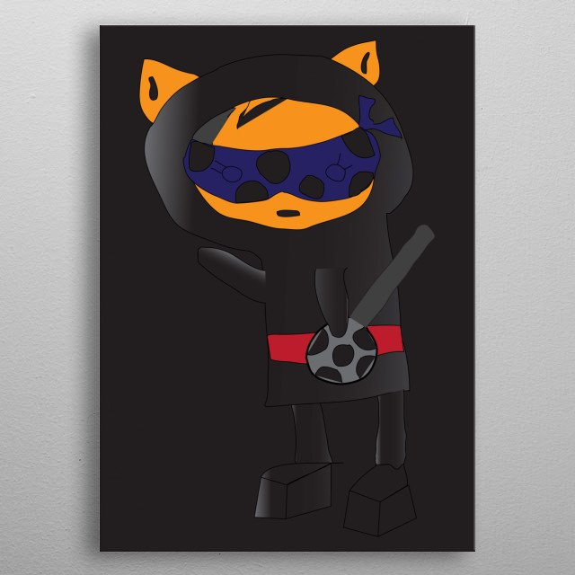 He's a cat, his name is Catt and he is a Ninja. What else do I need to say? Cool cat sketched by my daughter. metal poster