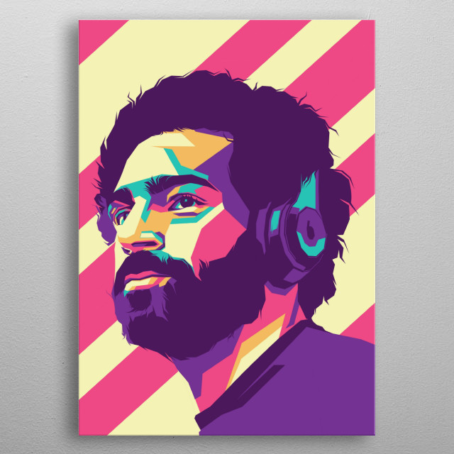 Moh salah professional footballer in style wpap portrait colourful metal poster