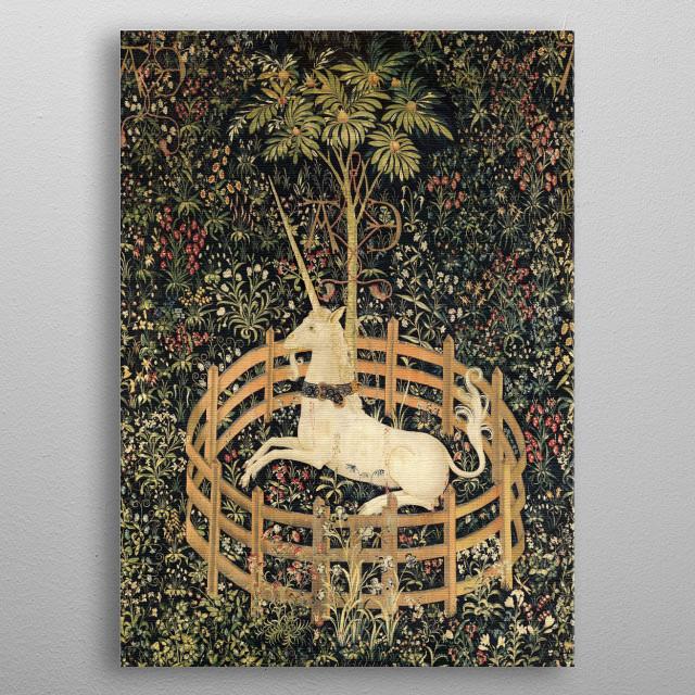 Vintage medieval unicorn tapestry metal poster