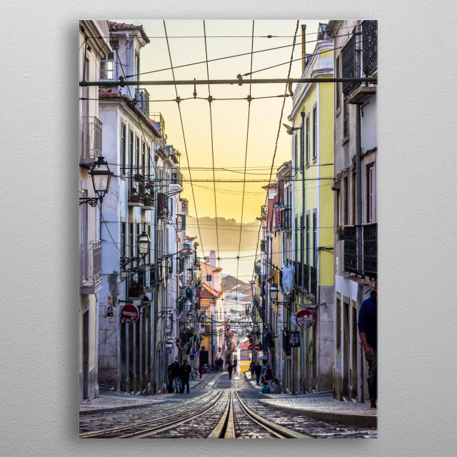 Sunset from the Iconic street of Lisbon Bica. metal poster
