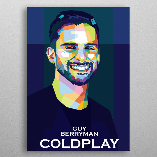 Colorful WPAP illustration of Coldplay Personel,Guy Berryman metal poster