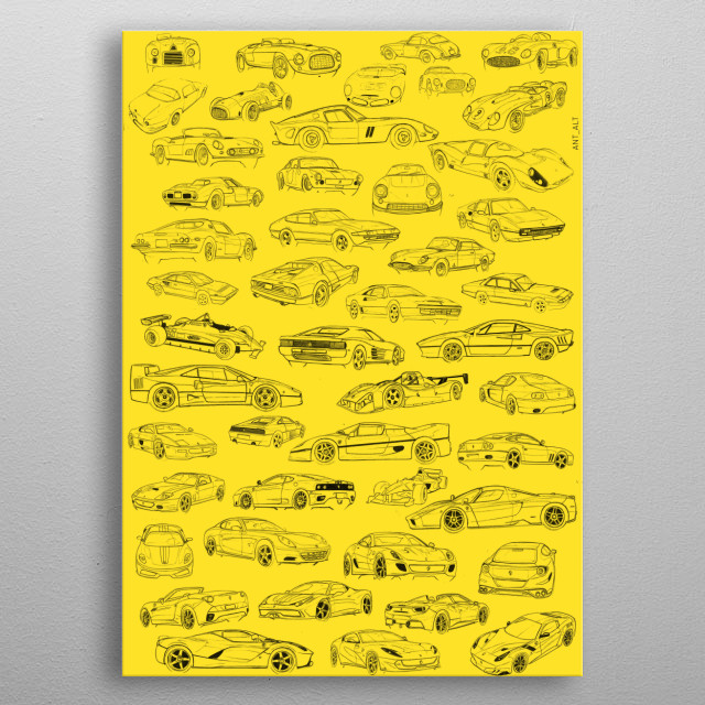 Most famous cars of the italian brand 1947 2018 metal poster