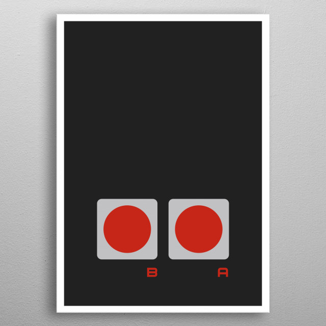 One part (3 in total) of the NES Controller metal poster