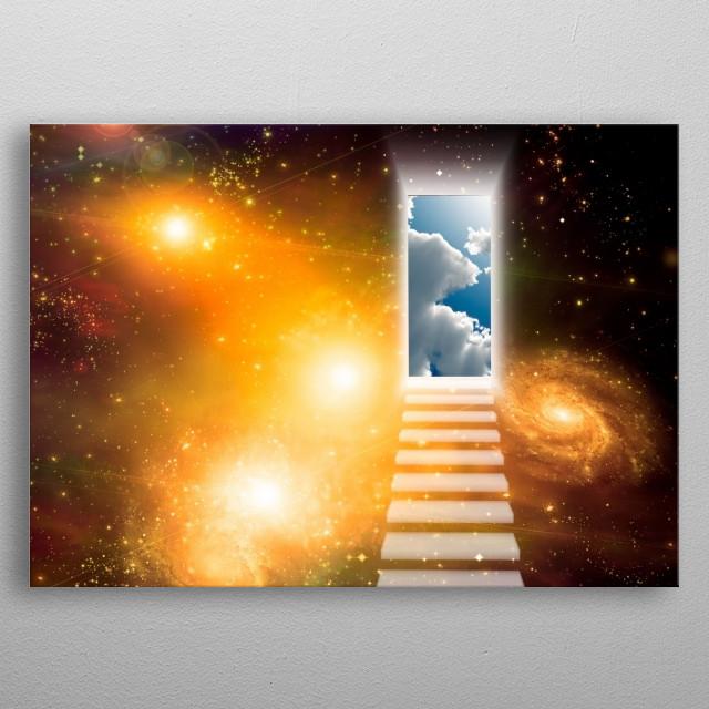 Opening door in vivid space metal poster