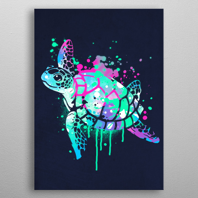 turtle fluo colorfull metal poster