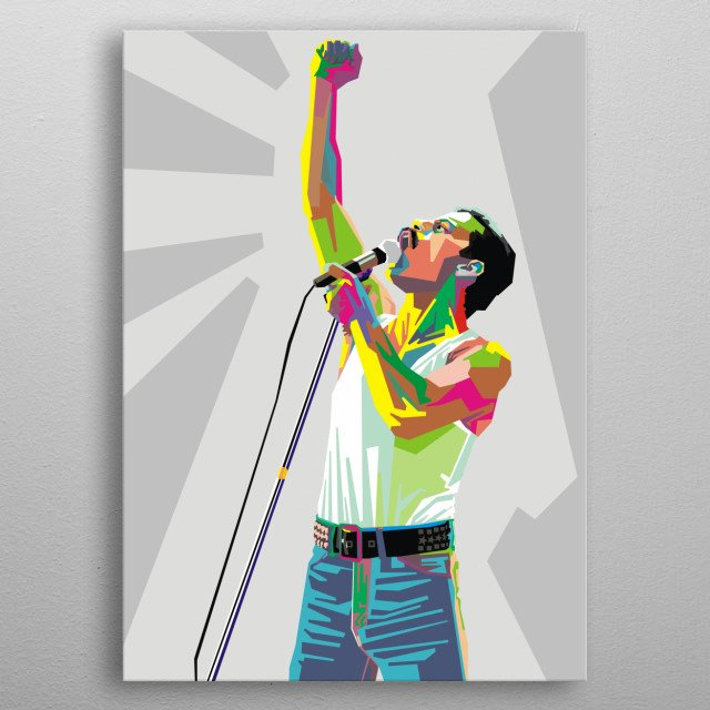 illustration of king of rock freddie mercury vocalist queen band metal poster