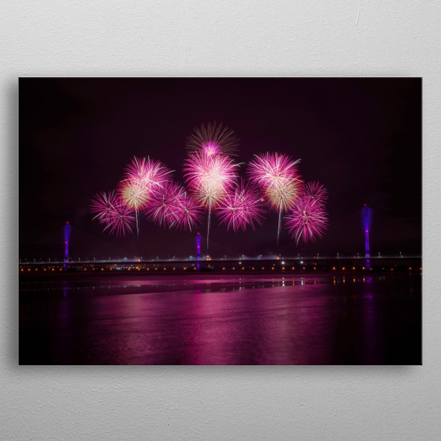 The fireworks at the opening of the new Mersey Gateway. metal poster