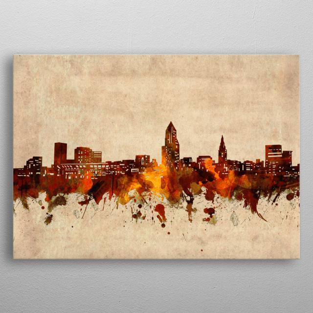 Cleveland skyline inspired by decorative,old,grunge,sepia,vintage,pop art design metal poster