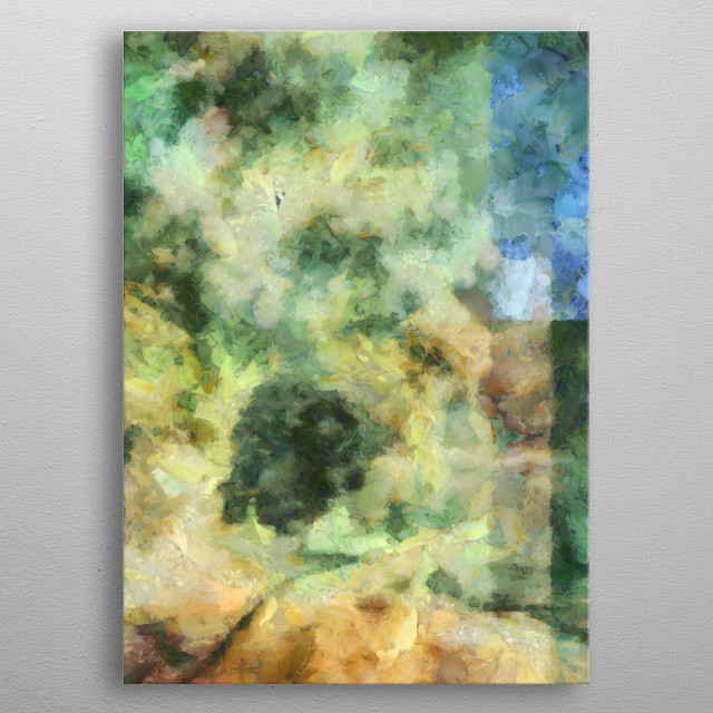 Abstraction. Colorful brush strokes metal poster