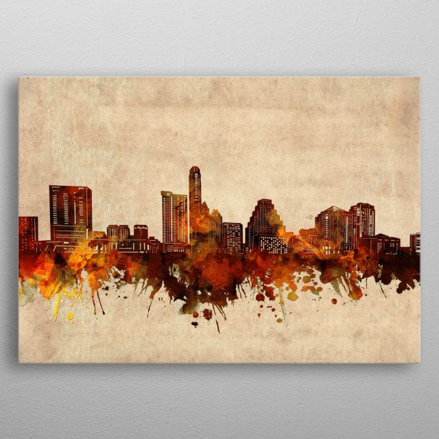 Austin skyline inspired by decorative,old,grunge,sepia,vintage,pop art design metal poster
