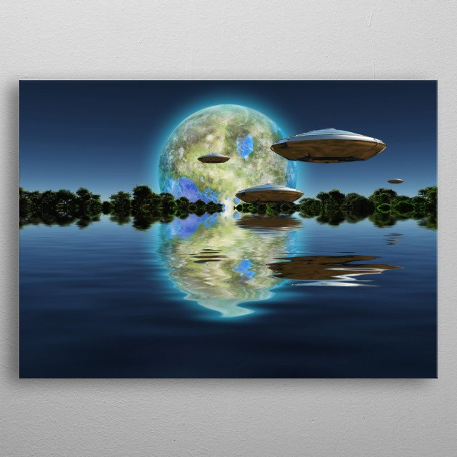 Terraformed moon at the horizon. Spacecrafts metal poster