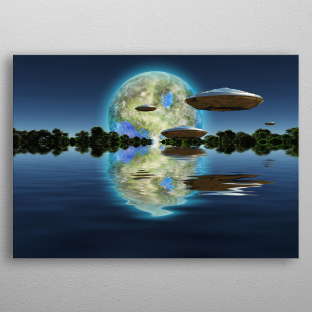 Terraformed moon at the horizon. Spacecrafts metal poster