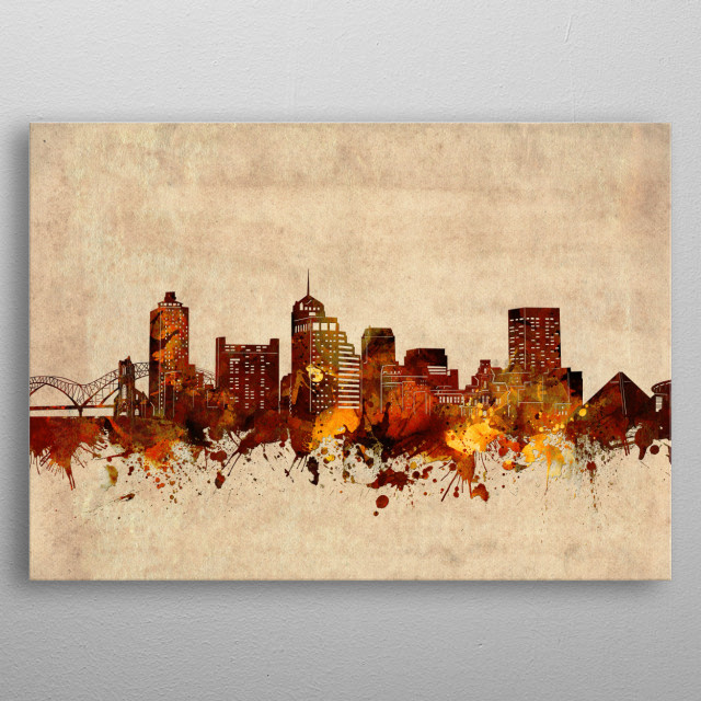Memphis skyline inspired by decorative,vintage,grunge,sepia,pop art design metal poster