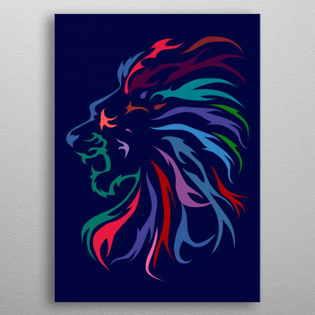 lion head in illustration metal poster