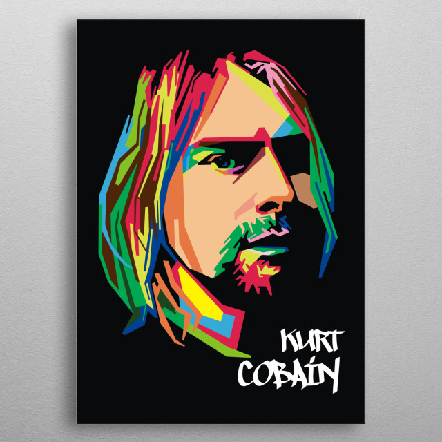 illustration of kurt cobain guitarist from grunge band fromseattle,nirvana in popart style  metal poster