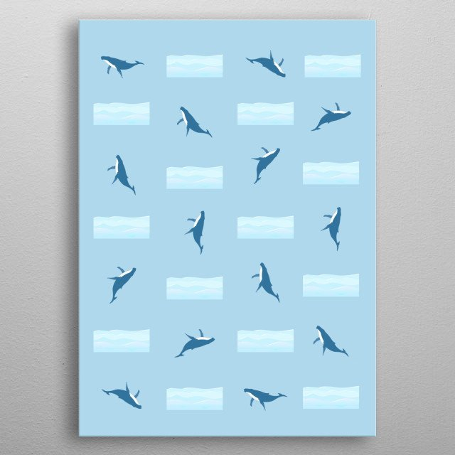 The movement of a whale. metal poster