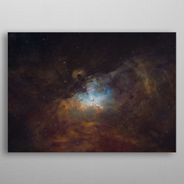 The Eagle Nebula and the Pillars of Creation  about  light years from earth. metal poster