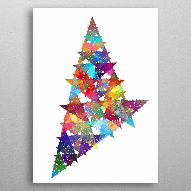 Multi-colour fractal art of triangles. metal poster