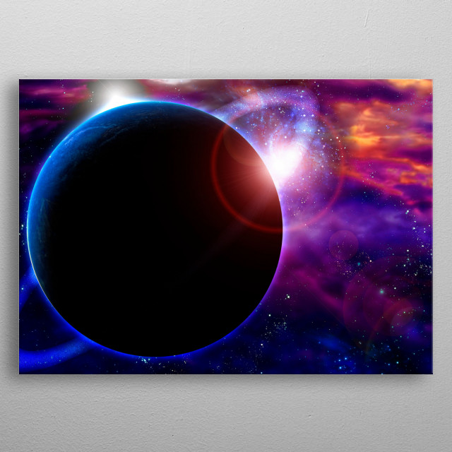Sunrise in vivid space metal poster