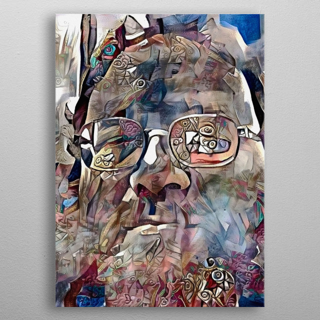 Modern abstract painting. Bearded man in glasses metal poster