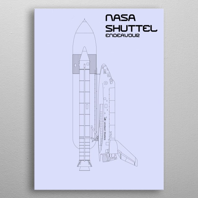 Nasa's Endeavour Space Shuttle metal poster