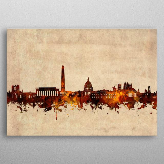 Washington dc skyline inspired by decorative,vintage,sepia,grunge,old,pop art design metal poster