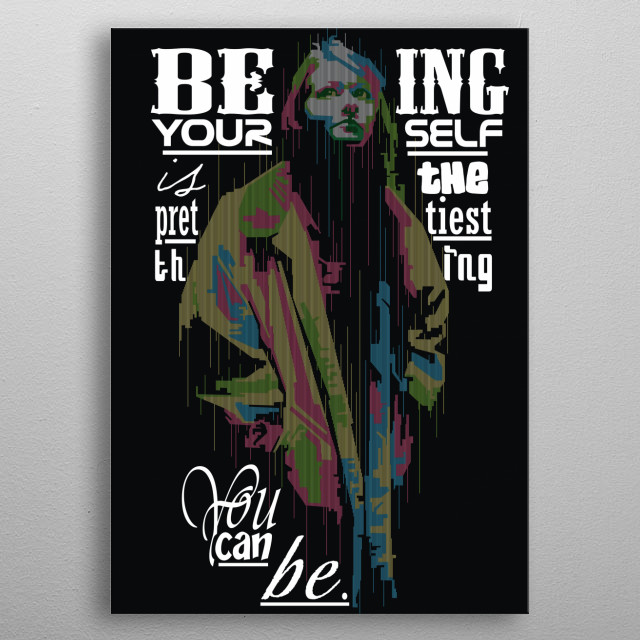 illustrtaion of girl in popart style with quotes of the day metal poster
