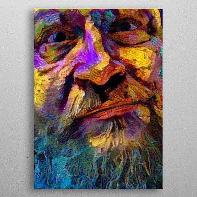 Colorful painting. Bearded Man's Face metal poster