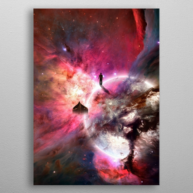 Man in open space. Vivid nebulae and glowing planet metal poster