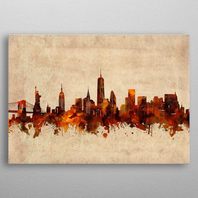 New York skyline inspired by decorative,vintage,sepia,grunge,old,pop art design metal poster