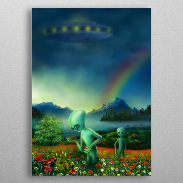 One day I was out on a country walk, minding my own business, when suddenly I'm sure I saw a spaceship... yet it may just have been a cloud. metal poster