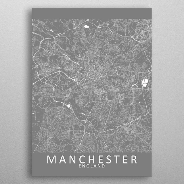A grey city map of Manchester, England metal poster