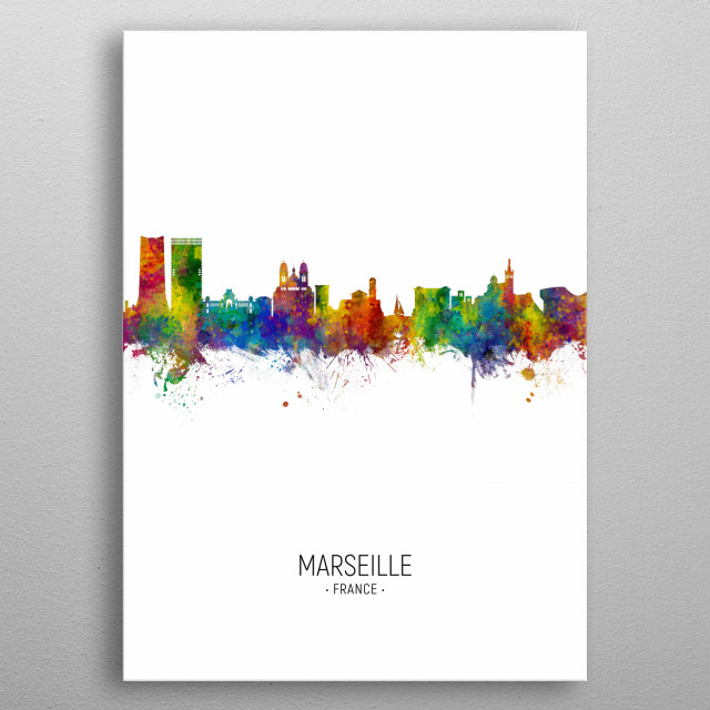 Watercolor art print of the skyline of Marseille, France metal poster