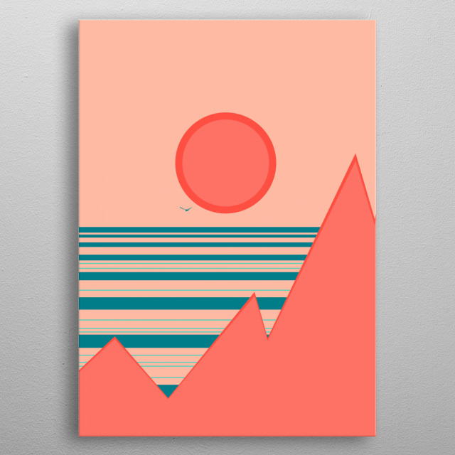 Minimal sunset, digital art metal poster