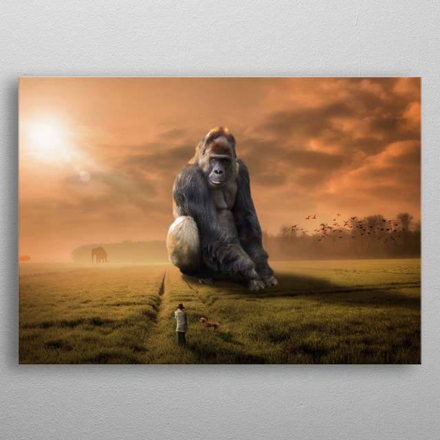 Inspired by the movies like King Kong, Rampage, Might Joe Young and Skull Island. Awesome piece of a giant gorilla on looking a tiny human. metal poster