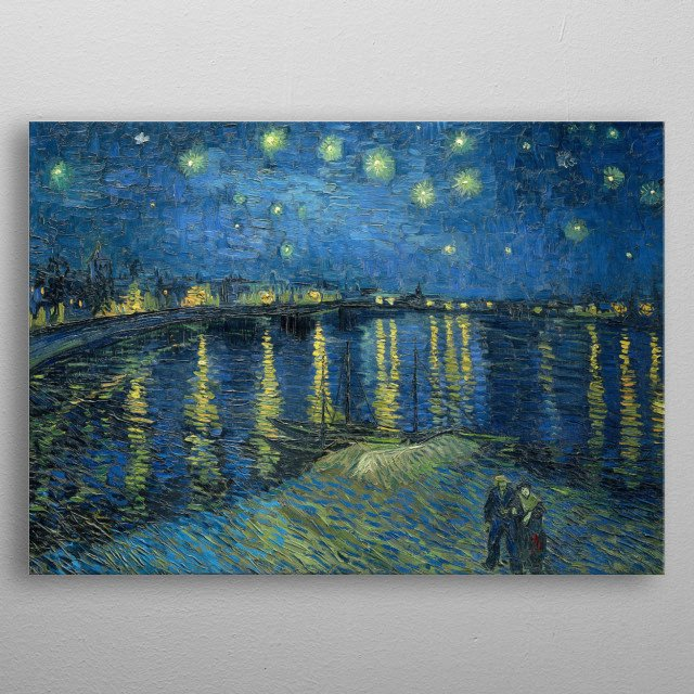 An enhanced and restored oil on canvas painting of Vincent Van Gogh's Starry Night Over the Rhone from 1888. metal poster