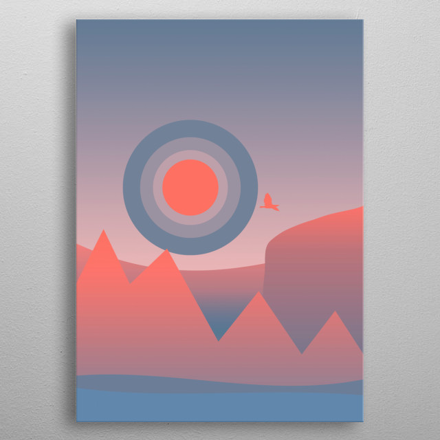 Minimal sunset, digital art metal poster