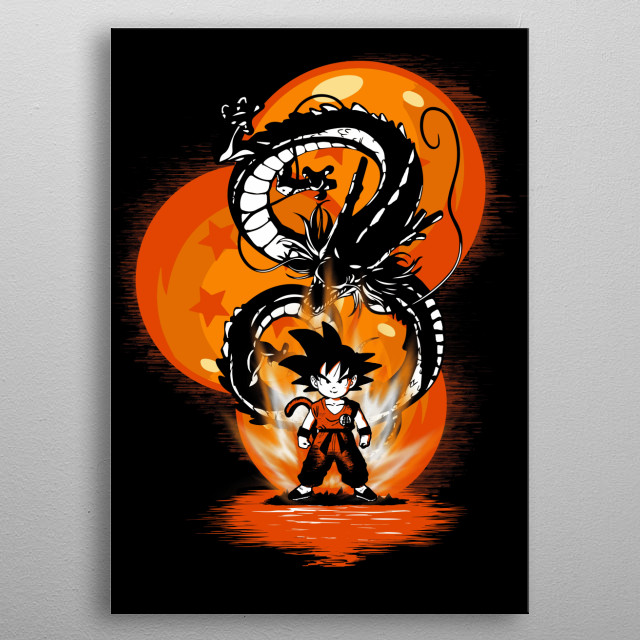 Inspired by the anime series dragon ball Z .Son Goku with the dragon shenron. metal poster
