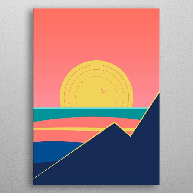 Minimal sunset , digital art metal poster