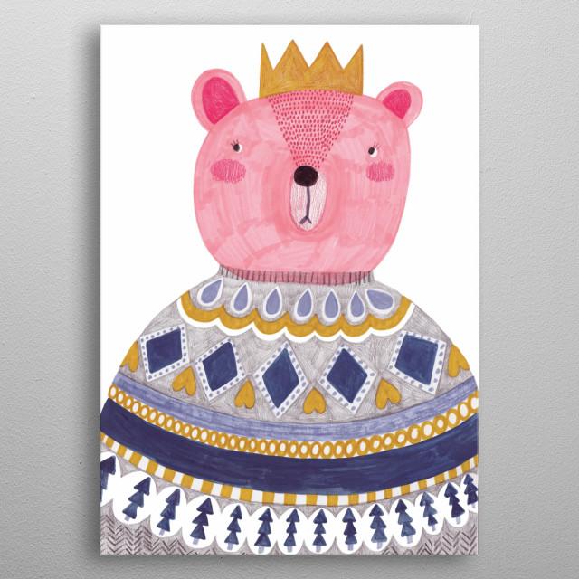king bear in sweater metal poster