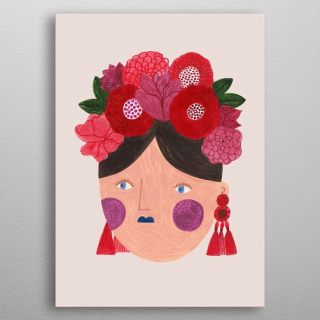 fashion girl in red  metal poster