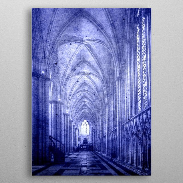 York Minster is a Gothic cathedral in York, England and is one of the largest of its kind in Northern Europe alongside Cologne Cathedral.  metal poster
