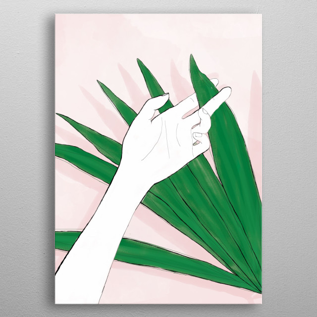 Illustration of the hand with plant metal poster