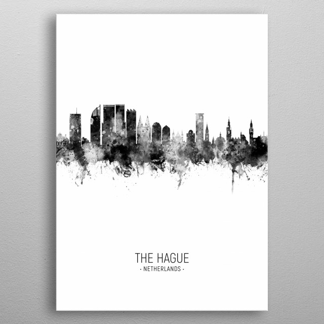 Watercolor art print of the skyline of The Hague, The Netherlands metal poster