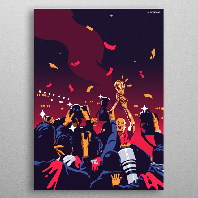 The brilliant Andreas Iniesta lifting the World Cup Trophy in 2010. metal poster