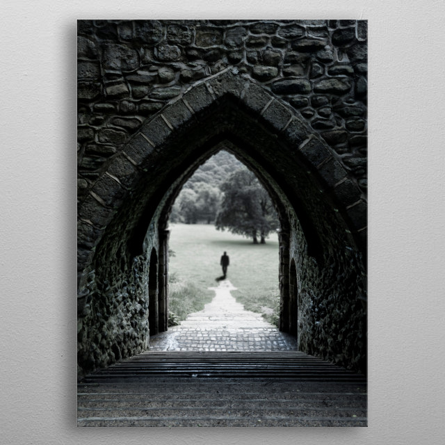 Architecture of a small church in England metal poster